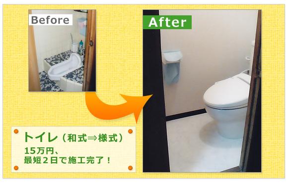 トイレ(和式⇒様式)15万円、最短2日で施工完了!