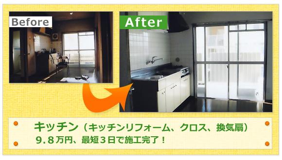 キッチン(キッチンリフォーム、クロス、換気扇)9.8万円、最短3日で施工完了!